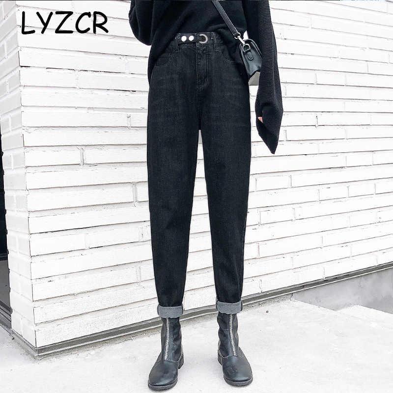 Musim Semi 2020 Tinggi Pinggang Ibu Jeans Wanita Longgar Harem Jeans untuk Wanita Lurus Celana Jeans dengan Pinggang Tinggi Pergelangan Kaki-celana Panjang
