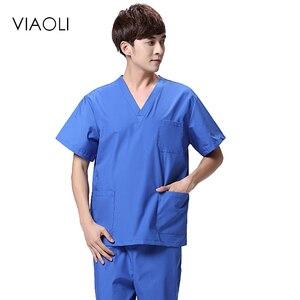 Viaoli 2019 новые летние хирургические халаты с коротким рукавом для мужчин Стоматологическая красота оральный питомец мужской раздельный кост...
