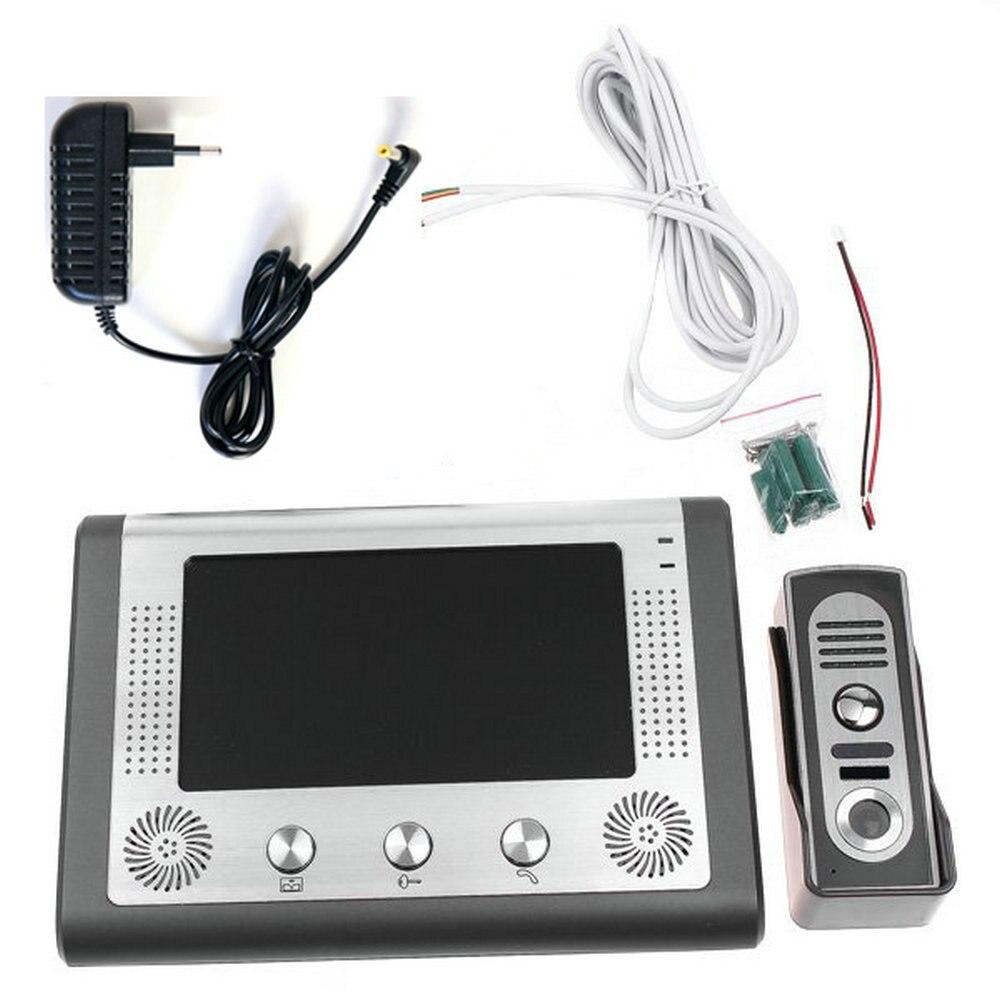 Купить с кэшбэком 7'' TFT LCD Wired Video Door Phone Visual Video Intercom Doorbell Speakerphone Intercom System With Waterproof Outdoor IR Camera