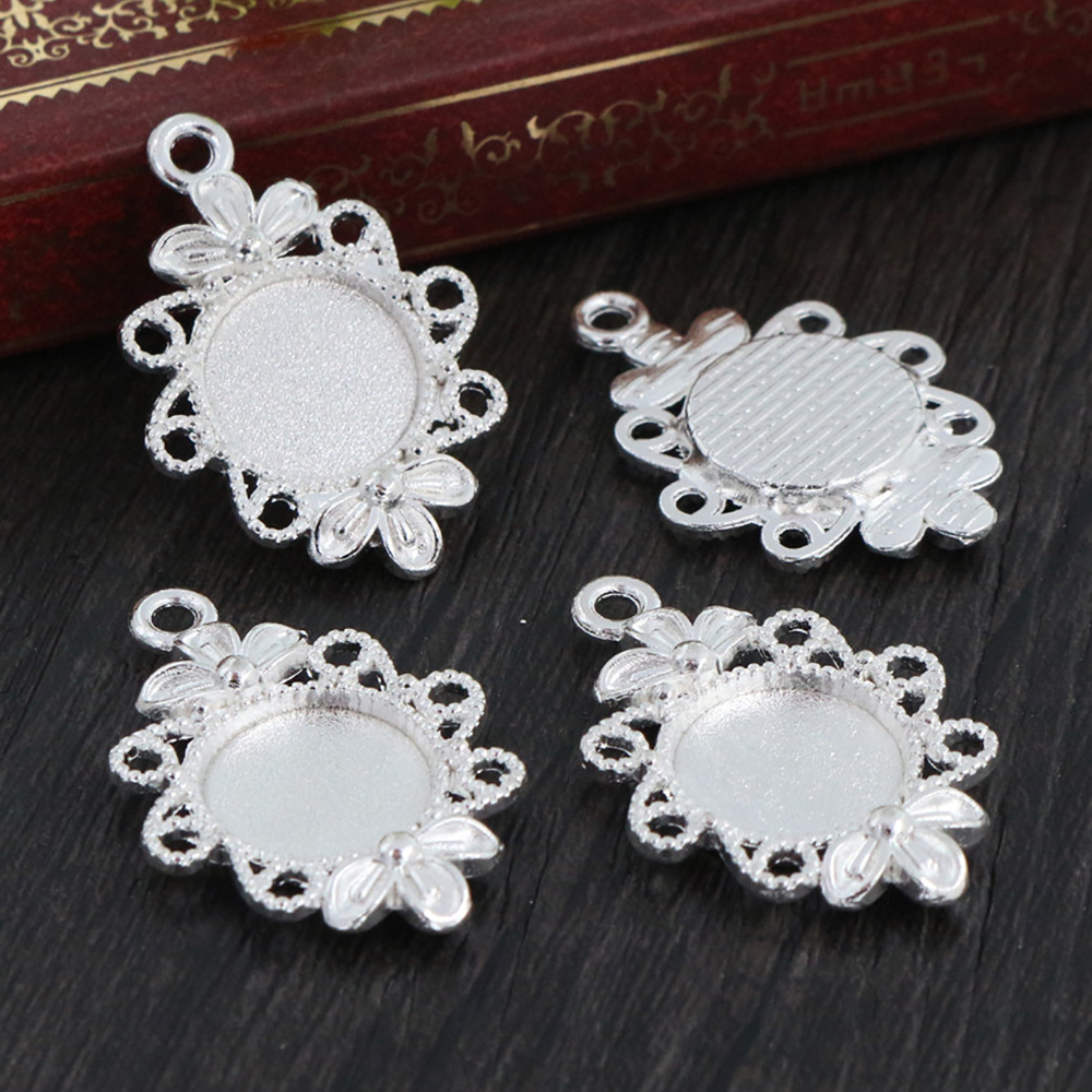 16pcs 12mm Inner Size Silver Plated Simple Style Cabochon Base Cameo Setting Charms Pendant (A2-01)
