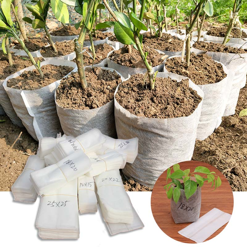 Fashion 100PCS/Lot Different Size Non-woven Nursery Bags Plant Grow Bags Fabric Seedling Pots Eco-Friendly Aeration Planting Bag