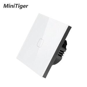 Image 2 - Сенсорный выключатель MiniTiger Европейского/британского стандарта, 1 клавиша, 1 канал, панель из белого хрустального стекла, сенсорный выключатель, настенный только сенсорный переключатель