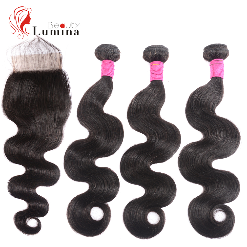 Brazilian Hair Body Wave 3 Bundles With Closure Remy Human Hair Bundles With 4x4 Lace Closure Beauty Lumina Hair Double Weft