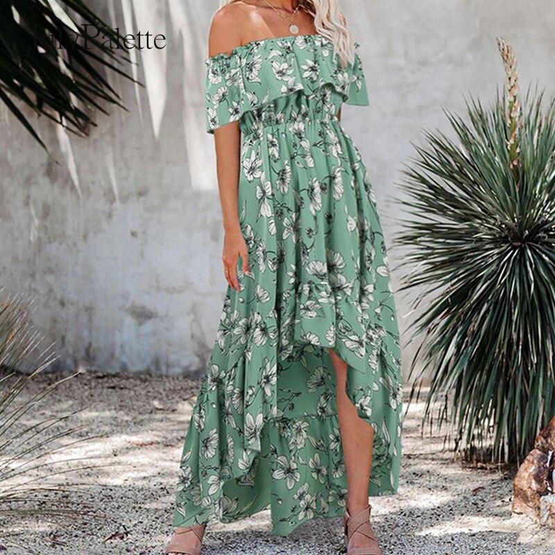Julypalette богемное летнее платье на одно плечо с оборками приталенное пляжное платье с высокой талией и цветочным принтом женское платье до щи...
