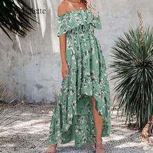 Julypalette boêmio vestido de verão um ombro babados fino cintura alta floral impresso praia vestido de verão tornozelo comprimento vestido feminino