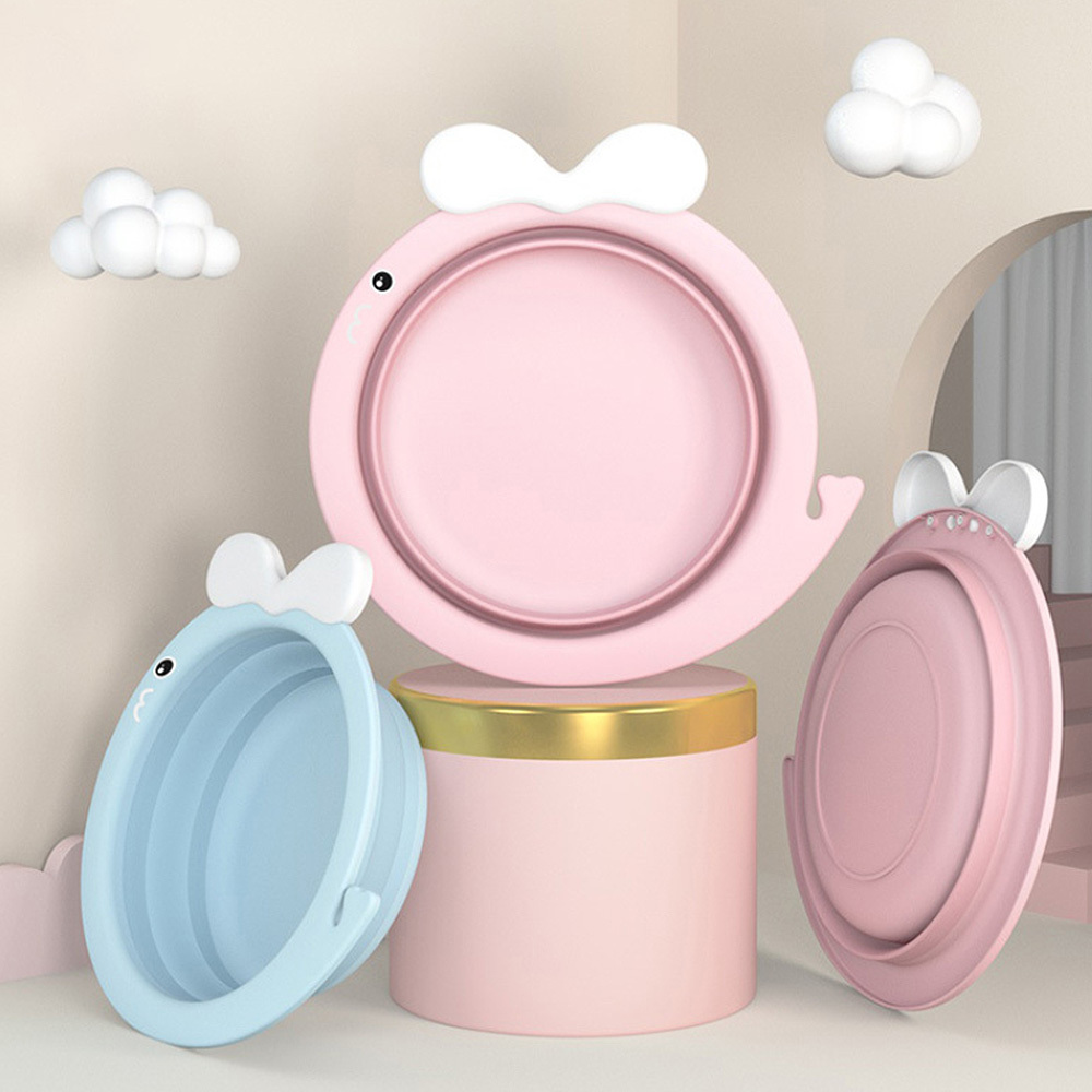 Folding Wash Basin Bucket Travel Portable Baby Basin Children Newborn Thicken Face Foot Ass Basin Candy Color Container NEW in Baby Tubs from Mother Kids