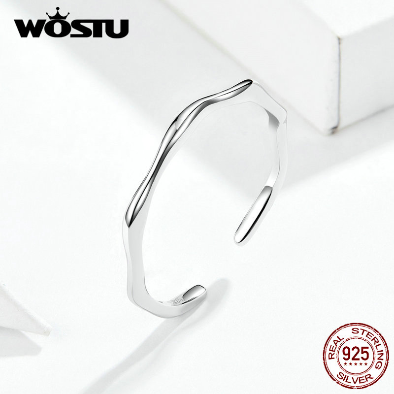 WOSTU 2019 New Arrival 925 Sterling Silver Minimalist Rings For Women Adjustable Wedding Opening Finger Ring Fine Jewelry FIR593