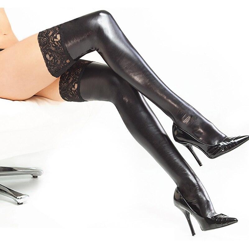 Женские кружевные чулки из искусственной кожи, сексуальные черные и Серебристые облегающие чулки, нижнее белье, эротические Фетиш Клубные костюмы