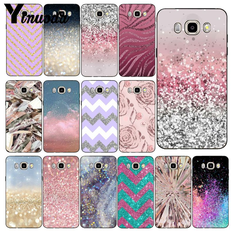 Yinuoda Gold Pink Glitter Print Phone Case Cover For Samsung Galaxy J7 J6 J8 J4 J4Plus J7 DUO J7NEO J2 J5 Prime image