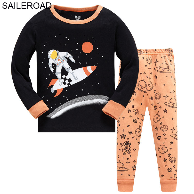 SAILEROAD Boys Nightwear 2020 Bulldozer Kids Pyjamas Suit Autumn Winter Baby Night Suit Cotton Children's Pajamas Sleepwear 4