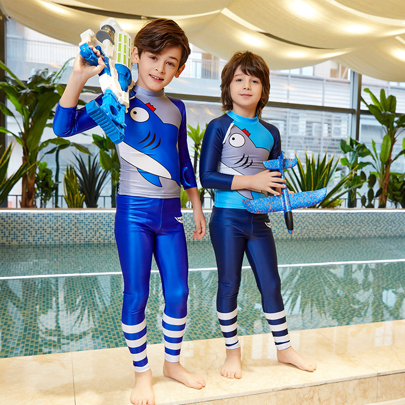2019 New Style Greedy Sharks Kids Swimming Training Suit High Elastic CHILDREN'S Swimsuit Cartoon Swimsuit For Boys