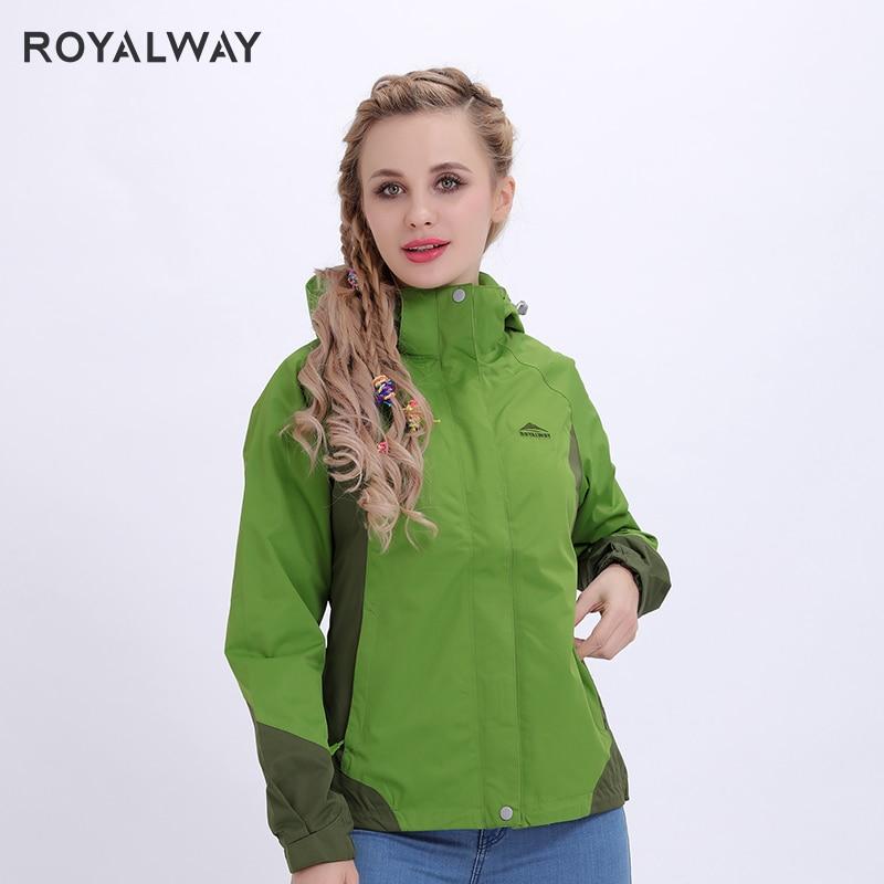 ROYALWAY 2019 New Light Windbreaker Women Waterproof Camping Hiking Hooded Jackets Outdoor Travel Fashion Coats ROL4115D