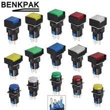 Мгновенный светодиодный выключатель 5 В, 12 В, 24 В, 220 В, поддерживаемые самоблокирующиеся кнопочные выключатели, 16 мм защелкивающаяся кнопка
