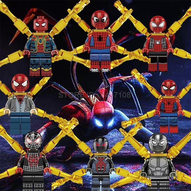 Spider Man Far From Home Figure Mysterio Captain America Marvel Avengers IronMan Hulk Building Blocks SpiderMan Toys DC Superman