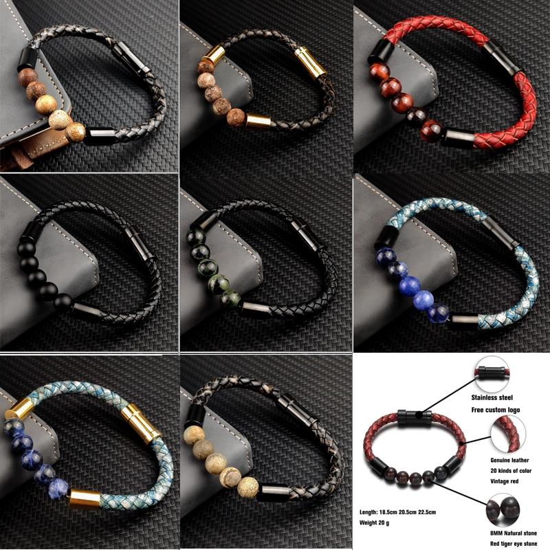 Titane acier homme Chakra bijoux en gros en acier inoxydable hommes en cuir noir volcanique perlé Bracelets en cuir pierre 6