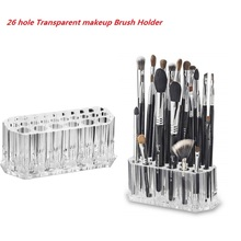 26 Holes Clear Acrylic Transparent Cosmetic Makeup Brush Holder Stand Organizer Lip For Daily Use Women Home