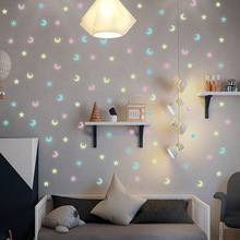 Wall-Sticker Rooms Star-Moon Home-Decorations Glow-In-The-Dark Baby Luminous Kids 100pcs