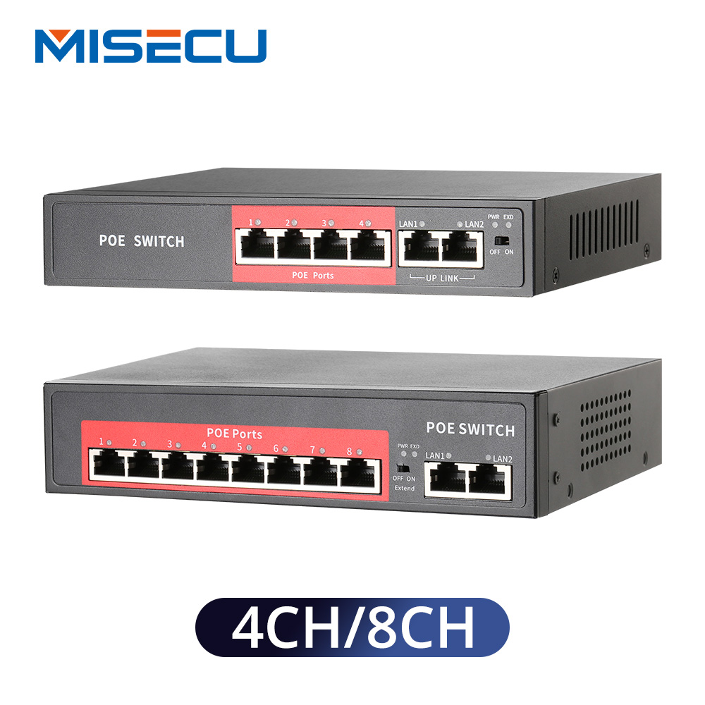MISECU 48V Network POE Switch With 4/8 10/100Mbps Ports IEEE 802.3 Af/at Over Ethernet IP Camera/Wireless AP/CCTV  Camera System