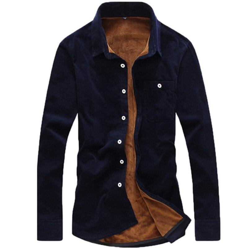 Fashion New Men's Shirt Fashion Boutique Pure Color Cotton Plus Velvet Warm Thick Casual Long Sleeve Slim Top