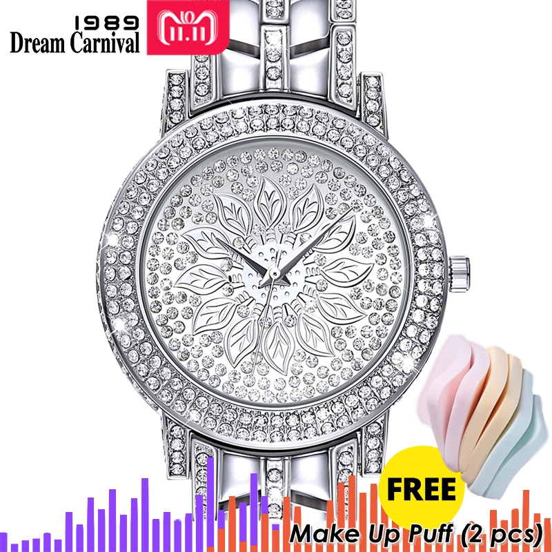 Dreamcarnival 1989 Elegant Women Stones Watches Full Crystals Dial Three Hands Christmas Gift Shiny Rhodium Gold Color A8340B