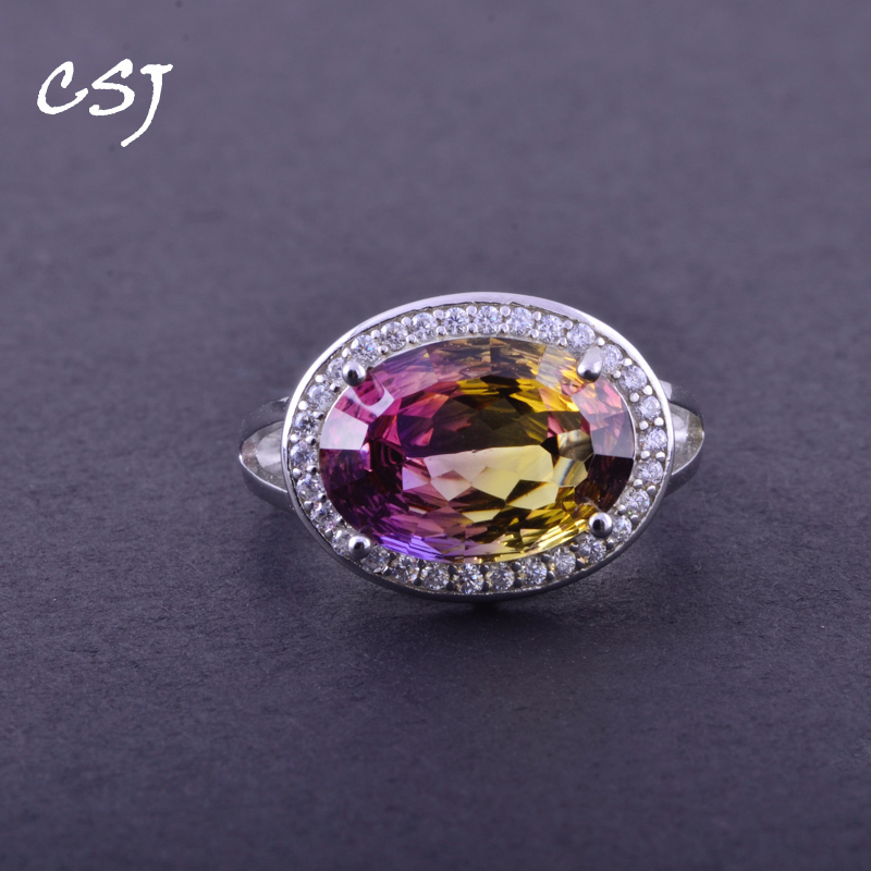 CSJ Elegant Ametrine Rings Sterling 925 Silver Natural Gemstone Bird Nest Cut Women Lady Wedding Engagment Party Gift Box