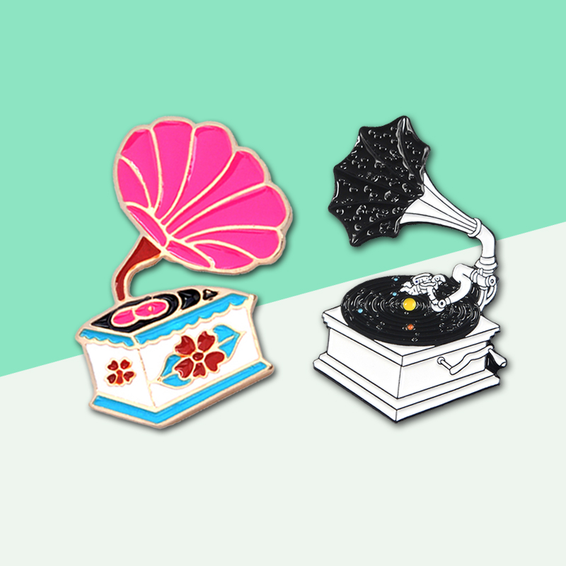 Classic Retro Phonograph Pins! Film Astronaut Cosmic Fantasy Nature Floral Leaves Enamel Brooch Lapel Jeans Denim Bag Jewelry