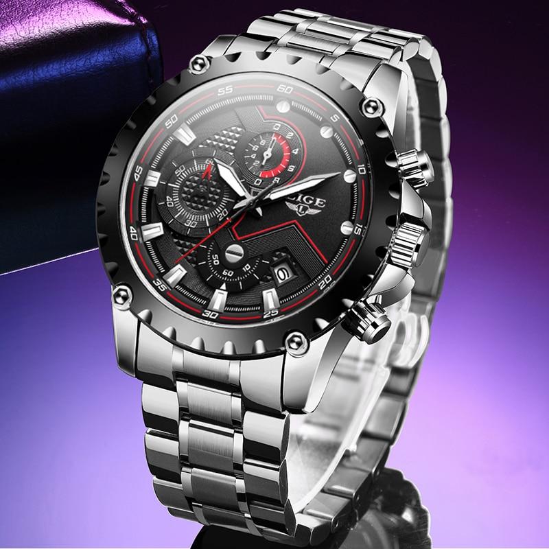 LIGE Fashion Mens Watches Men Top Brand Full Steel Waterproof Quartz Watch Man Military Sport Clock Wristwatch Relogio Masculino