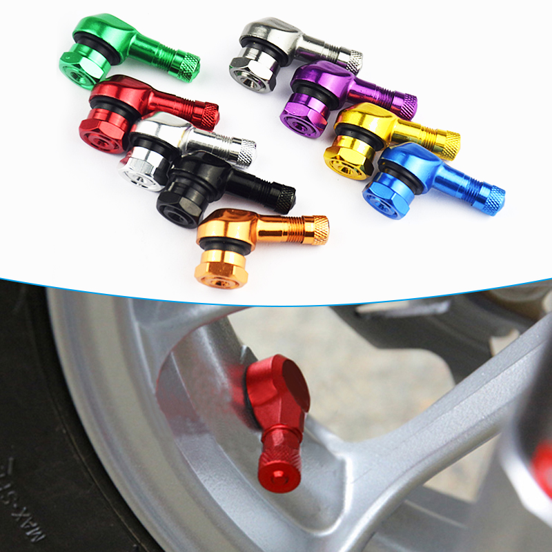 1 Pair Universal Motorcycle Wheel Tire Valves Stem Cap Air Tire Cover 90 Degree 17mm CNC Aluminum Tubeless Valve Stems 10 Colors