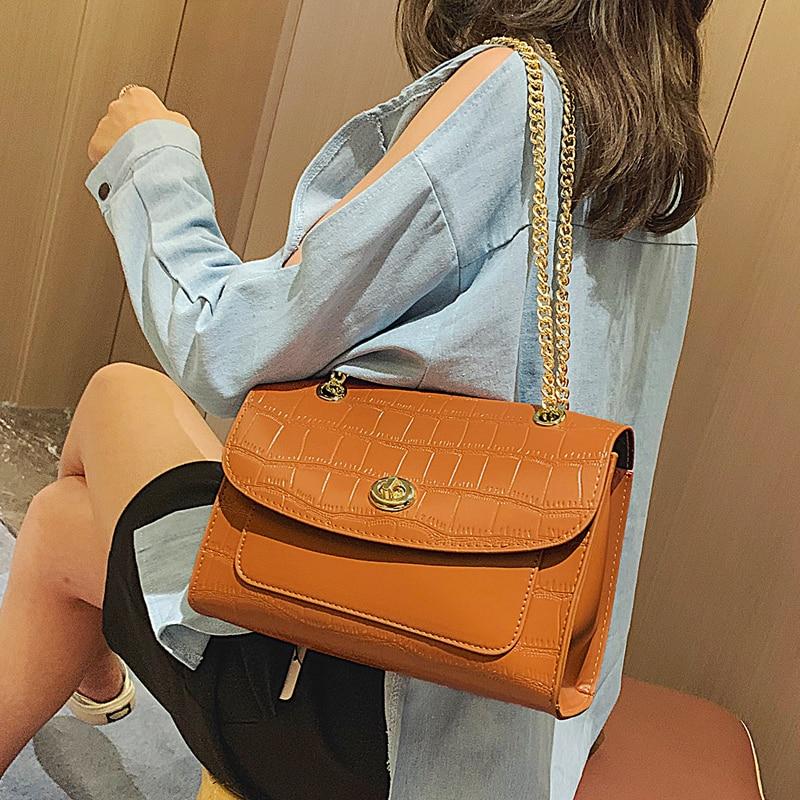 European Retro Crocodile Pattern Female Big Bag 2019 New  Quality Leather Women's Designer Handbag Chain Shoulder Messenger Bag