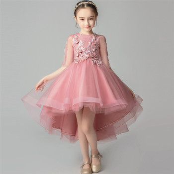 Children Girls Elegant Half-Sleeves High-Quality Birthday Wedding Party Tail Prom Dress Teens Kids Host Costumes Piano Dress