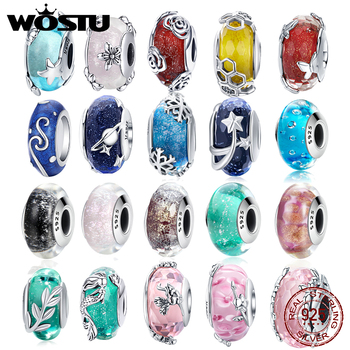 WOSTU 100% Authentic 925 Sterling Silver Cute Murano Glass Charm Beads Fit Bracelet Pendants DIY Original Jewelry Make Gift wostu authentic 100% 925 sterling silver cute owl love story charms fit original wst bracelets diy jewelry gift cqc425