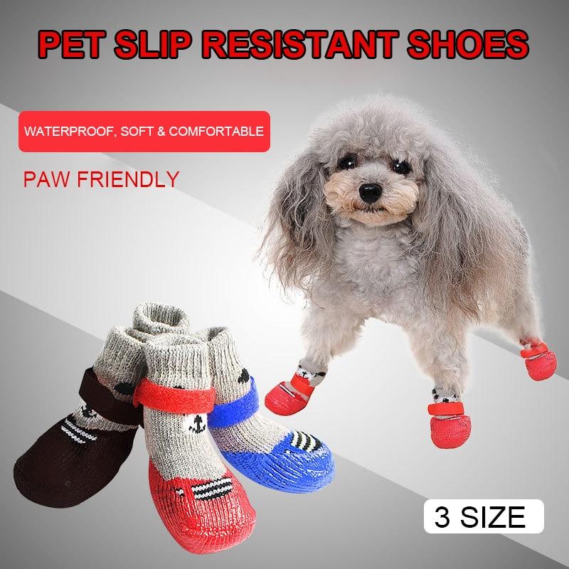 4 Pcs/Set Pet Dog Nonslip Shoes Socks Comfortable Puppy Waterproof Cotton Rubber Reinforcement Drop Shipping
