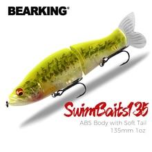 Leurres de pêche haut de portée 135mm 1oz méné articulé Wobblers corps ABS avec queue souple nageurs leurre souple pour brochet et basse