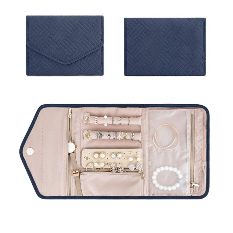 Travel Jewelry Organizer Roll Foldable Jewelry Case for Journey Rings Necklaces Jewerly Storage Bag