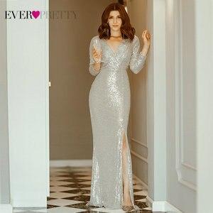 Image 2 - หรูหราชุดราตรียาวPretty Sequined Vคอเต็มรูปแบบเสื้อElegantชุดราตรีEP00824RG Vestido Noche Elegante 2020