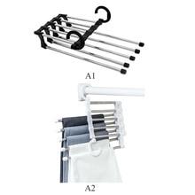 Stainless Steel Pants Hanger 5 in 1Trousers Portable Rack Shelves Bedroom Wardrobe Storage