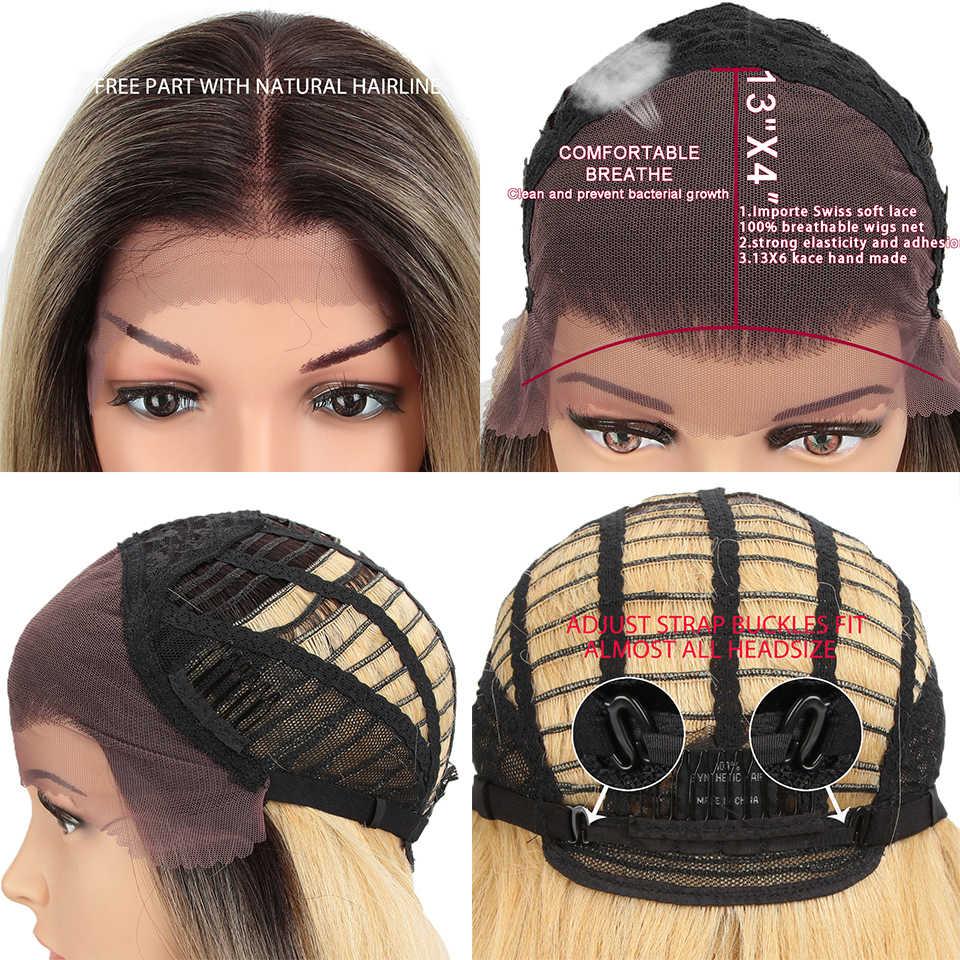 "Peluca frontal de encaje MAGIC 13X4 para mujeres negras largas 32 ""pulgadas pelucas rectas resistentes al calor Rubio Natural pelucas sintéticas Cosplay cabello"