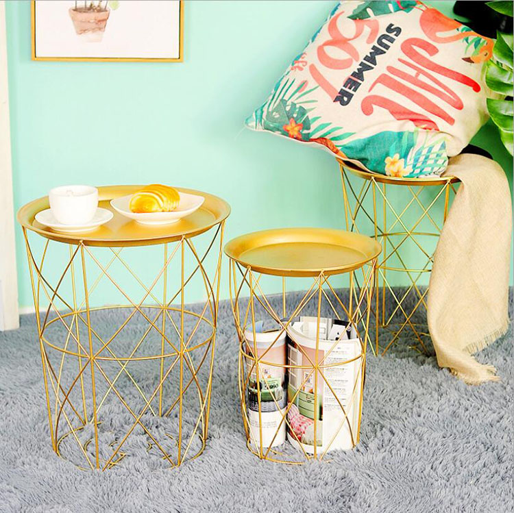 Golden Metal Coffee Table Dirty Storage Basket With Tea Fruit Snack Plate Tray For Bed Living Room Sofa Beside