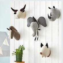 Home Decor Plush Toy Animal Head Wall Hanging Pendant Mural Living Room Bedroom Children's Room 3d Background Wall Decoration