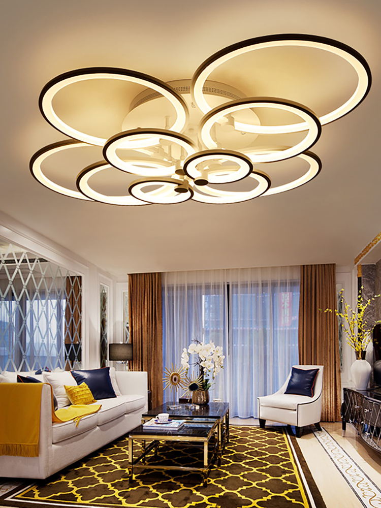Led Chandelier Fixtures Surface-Mounted Bedroom Living-Room Modern White Black Or