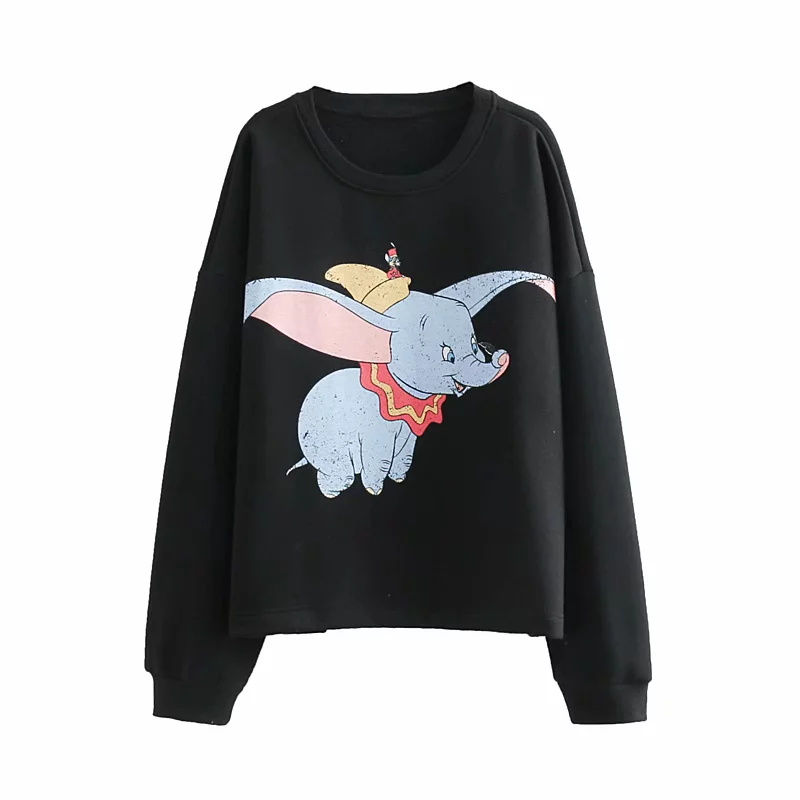 cute High Street Oversize Sweatshirt Plus Size Tops Hoodies Women Harajuku Cotton Print Cartoon Dumbo