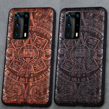 3D Carved Wood Cartoon Bear Case For Huawei P40 Pro Pro+ Plus Dragon Lion Wolf Tiger Tree wooden carve Cover