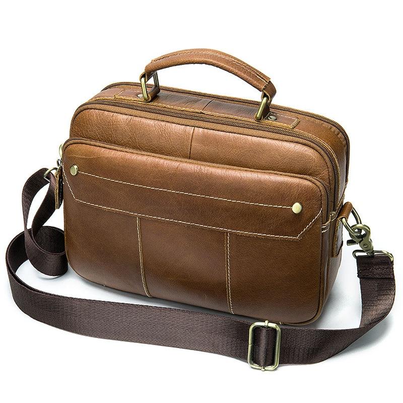 2019 New Fashion Genuine Leather Men Bag High Quality Shoulder Bag Messenger Bags Vintage Handbag Laptop Briefcase Male
