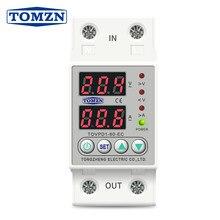 60a 230 v trilho din ajustável sobre e sob tensão dispositivo protetor relé com sobre voltímetro de proteção atual