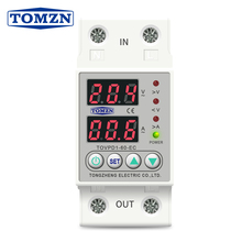 Din Rail Dual Display Adjustable Over Voltage Current and Under Voltage Protective Device Protector Relay 40A 63A 220V 230V