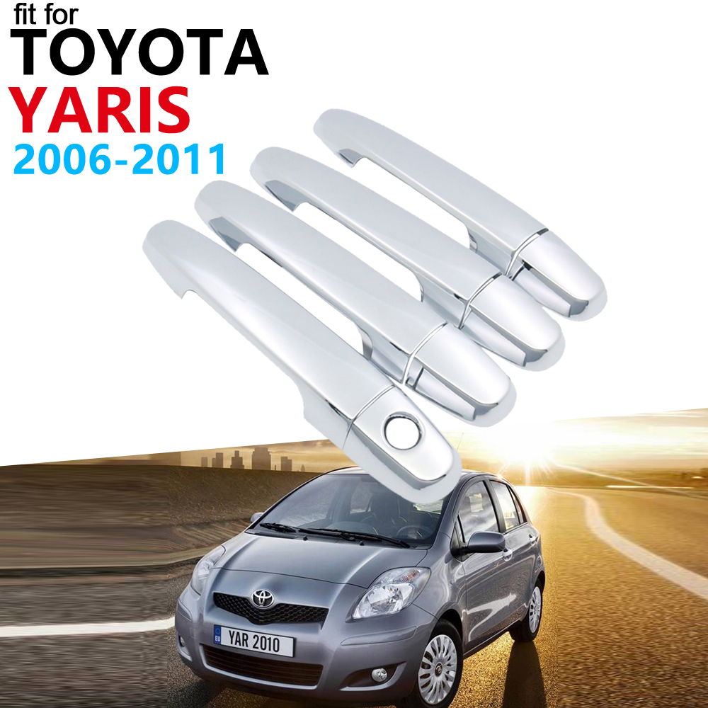 fit 2006-2009 Toyota Yaris RS 2//3Dr Door Handle Covers Trim Chrome