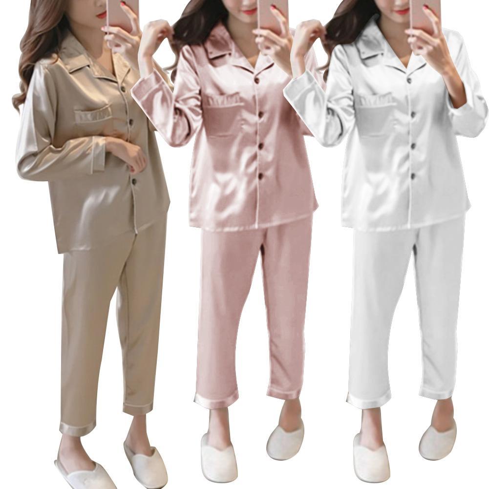 2Pcs Autumn Pajamas Set Women Solid Color Imitation Silk Homewear Long Sleeve Shirt Pants Nightwear Sleepwear Women Pajamas Set