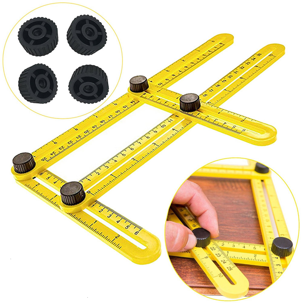 Multi Angle Ruler Template 4 Folding Angle Measuring Tool Instrument Brick Tile Wood Corner Products Foldable Ruler Protractor