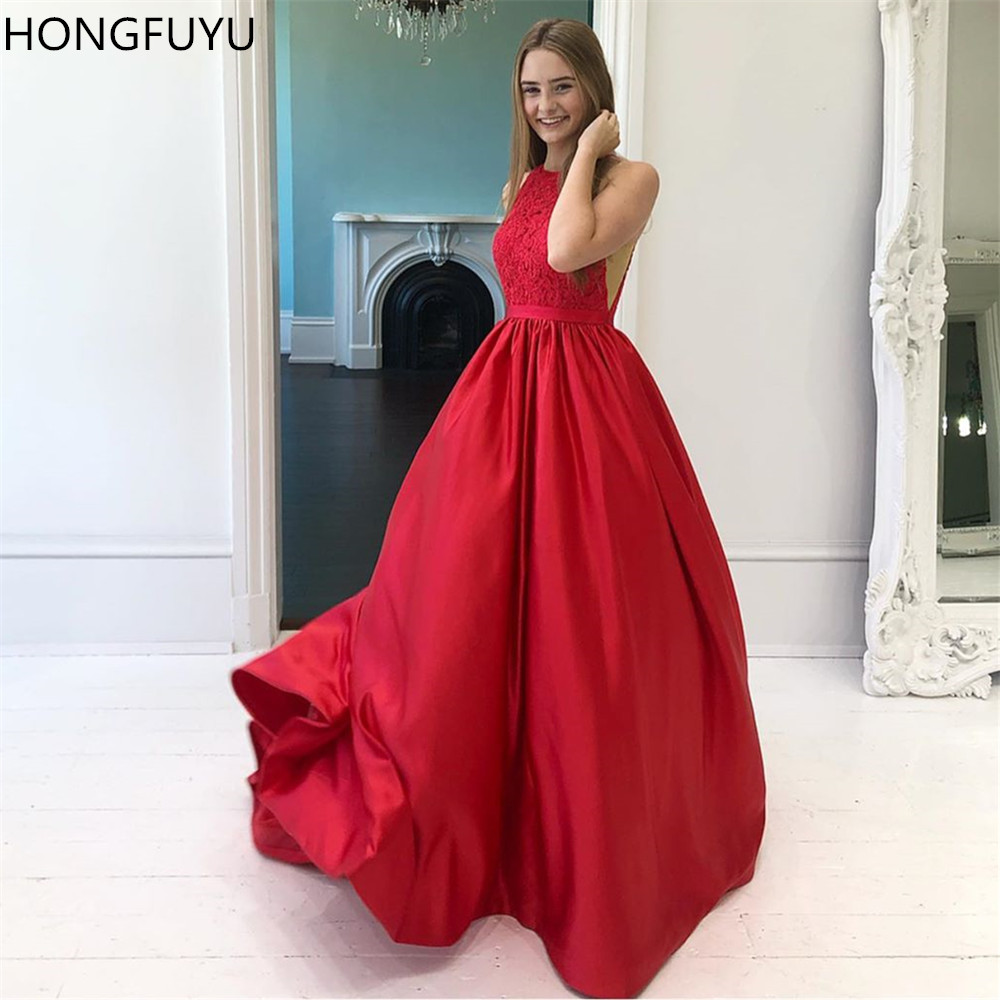 HONGFUYU Lace Top O-neck Vestido De Festa Long A-line   Prom     Dresses   Red Satin Evening Party Gown Sleeveless Formal   Prom     Dress
