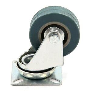 Image 3 - 4 x Heavy Duty 50x17mm gumowe obrotowe kółka koła wózek meble kółka hamulca